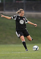 BOYDS, MARYLAND-JULY 07,2012:  Marisa Abegg (5) of DC United Women clears the ball up field against the Dayton Dutch Lions during a W League game at Maryland Soccerplex, in Boyds, Maryland. DC United women won 4-1.