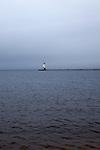 Harbor and lighthouse on an overcast day, Lake Michigan, Ludington, Michigan, MI, USA