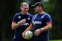 Bath Rugby coaches Barry Maddocks and Darren Edwards. Bath Rugby pre-season training session on August 9, 2016 at Farleigh House in Bath, England. Photo by: Patrick Khachfe / Onside Images