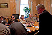 Kiev, Ukraine.July 13, 2005 ..Ukrainian Prime Minister Yulia Teminchenko meets with a German delegation in her office.