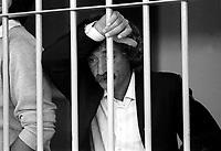 Roma 1987<br /> Aula bunker del Foro Italico<br /> Processo Moro-Ter alle Brigate Rosse. Mario Moretti