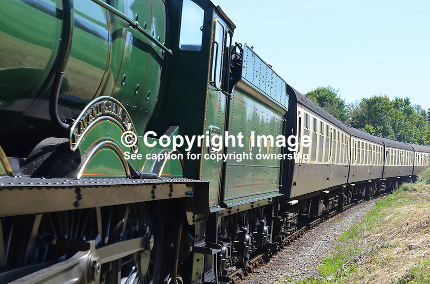 Locomotive, Raveningham Hall, No 6960, approaching Watchet station on its journey from Bishops Lydeard to Minehead.  West Somerset Railway, UK, July, 2014, 201407093451<br />