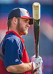 11 March 2013: Washington Nationals outfielder Bryce Harper awaits his turn in the batting cage prior to a Spring Training game against the Atlanta Braves at Space Coast Stadium in Viera, Florida. The Braves defeated the Nationals 7-2 in Grapefruit League play. Mandatory Credit: Ed Wolfstein Photo *** RAW (NEF) Image File Available ***