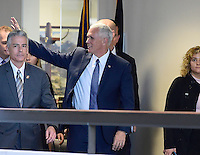 United States Vice President-elect Mike Pence waves to the crowd in the Hart Senate Office Building in Washington, DC as he walks to meet incoming US Senate Minority Leader Chuck Schumer (Democrat of New York) on Thursday, November 17, 2016.<br />