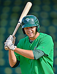 19 July 2012: Vermont Lake Monsters outfielder John Wooten awaits his turn in the batting cage prior to a game against the Tri-City ValleyCats at Centennial Field in Burlington, Vermont. The ValleyCats defeated the Lake Monsters 6-3 in NY Penn League action. Mandatory Credit: Ed Wolfstein Photo