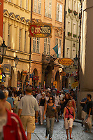 Czeck Republic - Prague , visitors crowd Karlova, the main thourghfare to the Charles bridge.