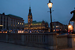 The Rathaus and buildings at night time  Hamburg, Germany