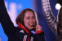 OLYMPICS: SOCHI: Medal Plaza, 15-02-2014, Skeleton, Women, Noelle Pikus-Pace (USA), ©photo Martin de Jong