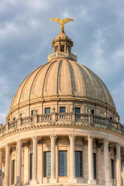 The Mississippi State Capitol dome, as viewed from the north, on a pleasant summer morning in Jackson, Mississippi.