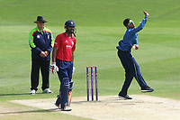 Imran Qayyum in bowling action for Kent during Kent Spitfires vs Essex Eagles, Royal London One-Day Cup Cricket at the St Lawrence Ground on 17th May 2017