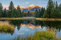 Grand Teton National Park, WY<br /> Teton Range reflecting on a beaver pond near Schwabacher Landing on the Snake River