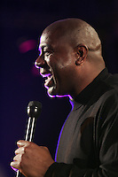 16  January 2007:  Former NBA superstar and current businessman Earvin Magic Johnson speaks at a private corporate event in Dallas Texas.