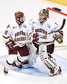 Tim Filangieri (Boston College - Islip Terrace, NY), Cory Schneider (Boston College - Marblehead, MA) - The Michigan State Spartans defeated the Boston College Eagles 3-1 (EN) to win the national championship in the final game of the 2007 Frozen Four at the Scottrade Center in St. Louis, Missouri on Saturday, April 7, 2007.