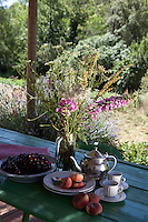 Tea, fresh cherries and peaches and a vase of wild flowers on a simple painted table on the terrace