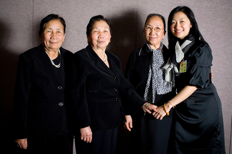 NPR reporter Doualy Xaykaothao with her great-aunts, and sisters of General Vang Pao, (L-R) Lee Vang, Der Vang and Chai Vang, in Fresno, Ca., on Sunday, Feb. 6, 2011. , in Fresno, Ca., on Sunday, Feb. 6, 2011. Vang Pao led Hmong guerrillas in a CIA-backed battle against communist forces in Laos and helped tens of thousands of Hmong resettle in American cities.
