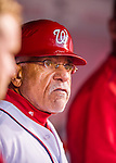 28 April 2016: Washington Nationals first base coach Davey Lopes watches play from the dugout during a game against the Philadelphia Phillies at Nationals Park in Washington, DC. The Phillies shut out the Nationals 3-0 to sweep their mid-week, 3-game series. Mandatory Credit: Ed Wolfstein Photo *** RAW (NEF) Image File Available ***