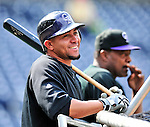 22 April 2010: Colorado Rockies' catcher Miguel Olivo awaits his turn in the batting cage prior to a game against the Washington Nationals at Nationals Park in Washington, DC. The Rockies shut out the Nationals 2-0 gaining a 2-2 series split. Mandatory Credit: Ed Wolfstein Photo