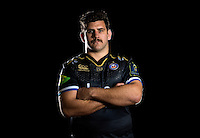 Rob Webber poses for a portrait in the 2015/16 European kit during a Bath Rugby photocall on December 1, 2015 at Farleigh House in Bath, England. Photo by: Patrick Khachfe / Onside Images