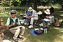 July 20, 2010 - Niiza, Japan - Japanese people are painting in Heirinji, Rinzai temple of the Myoshin-ji branch located in Niiza city, Japan, on July 20, 2010.