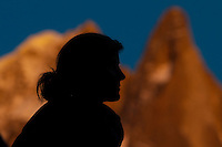Silhouette of woman in Alps