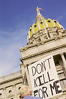 Harrisburg, PA. capitol building, site of protest to abolish the death penalty and pro abortion rights rally.