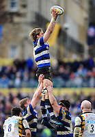 David Denton of Bath Rugby wins the ball at a lineout. Aviva Premiership match, between Bath Rugby and Wasps on March 4, 2017 at the Recreation Ground in Bath, England. Photo by: Patrick Khachfe / Onside Images