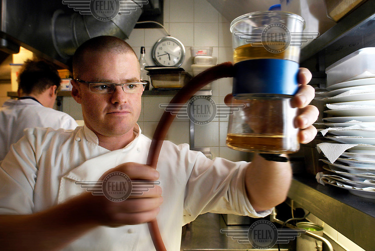 Chef Heston Blumenthal in the kitchen at The Fat Duck, which has been rated as the world's best restaurant.