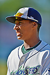 8 July 2012: Vermont Lake Monsters infielder Christopher Bostick awaits the start of play against the State College Spikes at Centennial Field in Burlington, Vermont. The Lake Monsters rallied from a 2-0 late inning deficit, to defeat the Spikes 8-2 in NY Penn League action. Mandatory Credit: Ed Wolfstein Photo