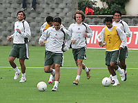 "Mexico national soccer team players Francisco ""Kikin"" Fonseca (L-R), Omar Bravo, Gerardo Torrado, Mario Mendez and Claudio Suarez train at the Centro Pegaso training center, March 27, 2006. Photo by Javier Rodriguez"