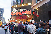 "Theatergoers outside the Ambassador Theatre to see the long-running ""Chicago"" in New York on Tuesday, May 24, 2016. Once again the 2015-2016 Broadway season was the highest-grossing season in history according the The Broadway League with audience attendance up 1.6 percent over last season and box office grosses up 0.6 percent. (© Richard B. Levine)"