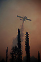 Fire service hydroplane drops drops its payload of seawater over a forest fire burning near Ancient Olympia; smoke from the fires blocking out the sun turning the sky into a dark orange haze; Peloponnese, Greece, 2007;
