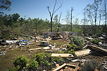 Storm damage to Mike and Elizabeth Danford's house on County Road 269 in the Pine Flat area of Lafayette County south of Oxford, Miss. on Thursday, April 28, 2011. A Wednesday afternoon storm destroyed houses and uprooted trees.