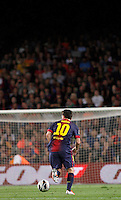 02/09/2012 - Liga Football Spain, FC Barcelona vs. Valencia CF Matchday 3 - Lionel Messi drives the ball