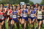 The start of the women's (L to R:  Hailey Bradshaw, Jaydn Gourley, Jordan Powell, Sora Klopfenstein, Hillary Holt, Sarah Johnson, Karlee Coffey) collegiate race during the Roger Curran Invitational at West Park in Nampa, Idaho on September 8, 2012.