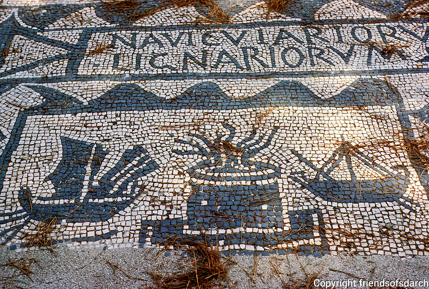 """Italy: Ostia--Mosaic of ships and lighthouse, Corporation stall. Lignum--wood """"a ship's master--and """"of or belonging to wood or a woodcutter"""". Photo '83."""