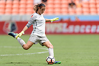 Houston, TX - Saturday April 15, 2017: Lydia Williams clears the ball during a regular season National Women's Soccer League (NWSL) match won by the Houston Dash 2-0 over the Chicago Red Stars at BBVA Compass Stadium.