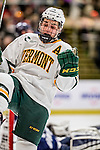 10 February 2017: University of Vermont Catamount Forward Anthony Petruzzelli, a Junior from Federal Way, WA, celebrates the opening goal of the game in the second period against the University of New Hampshire Wildcats at Gutterson Fieldhouse in Burlington, Vermont. The Catamounts fell to the Wildcats 4-2 in the first game of their 2-game Hockey East Series. Mandatory Credit: Ed Wolfstein Photo *** RAW (NEF) Image File Available ***