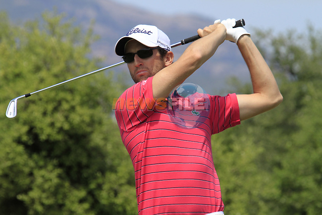 Gregory Bourdy (FRA) in action on the par3 3rd tee during Day 2 of the Open de Espana at Real Club De Golf El Prat, Terrasa, Barcelona, 6th May 2011. (Photo Eoin Clarke/Golffile 2011)