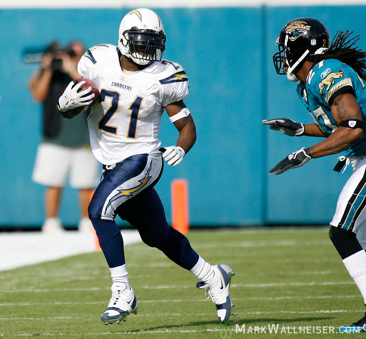 San Diego Chargers First Game: Chargers' LaDainian Tomlinson Runs Against The Jaguars