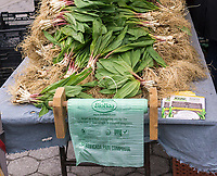 The sought after relative of the onion, ramps, are seen in the Union Square Greenmarket in New York on <br /> Saturday, April 22, 2017. The vegetable, which can be eaten raw, inspires a cultish following due to their scarcity and limited season. Ramps are not cultivated but are foraged, probably by little ramp elves. (&copy; Richard B. Levine)
