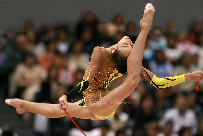 Daria Kushnerova of Ukraine split leaps with rope at 2006 Aeon Cup Worldwide Clubs Championships in rhythmic gymnastics on November19, 2006.<br />