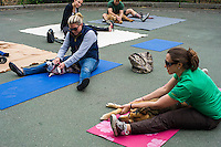 Dogs and their owners participate in Doggie Yoga and Massage at the PAW Day 2013: Pet Health and Wellness Fair at Carl Schurz Park in the Upper East Side neighborhood in New York, Saturday, May 18, 2013. (© Frances M. Roberts)
