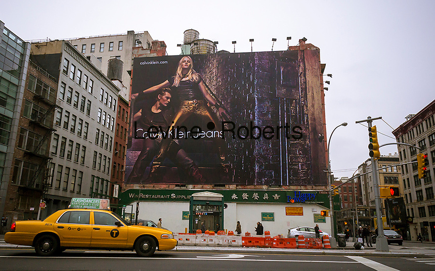 A Calvin Klein Jeans billboard in the Soho neighborhood of New York on Sunday, January 13, 2013. Klein's advertisements use sex and provocative images to test society's cultural and moral boundaries. (© Richard B. Levine)