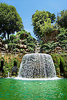 waterfall of The oval fountain, 1567, Villa d'Este, Tivoli, Italy - Unesco World Heritage Site.