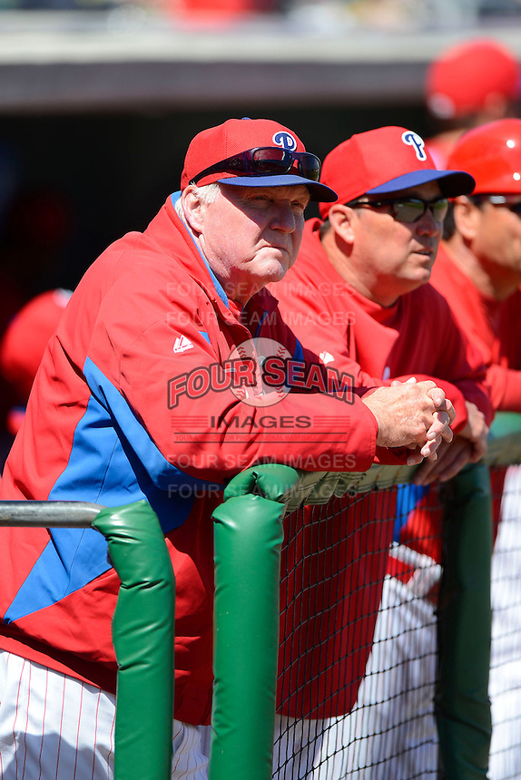 Philadelphia Phillies manager Charlie Manuel #41 during a Spring Training game against the Washington Nationals at Bright House Field on March 6, 2013 in Clearwater, Florida.  Philadelphia defeated Washington 6-3.  (Mike Janes/Four Seam Images)
