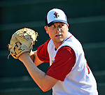 29 June 2012: Lowell Spinners' pitcher Gregory Larson warms up in the bullpen prior to a game against the Vermont Lake Monsters at Centennial Field in Burlington, Vermont. Mandatory Credit: Ed Wolfstein Photo