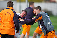 LIVERPOOL, ENGLAND - Wednesday, October 3, 2012: Liverpool's Jamie Carragher and captain Steven Gerrard share a joke with manager Brendan Rodgers during a training session at Melwood Training Ground ahead of the UEFA Europa League Group A match against Udinese Calcio. (Pic by David Rawcliffe/Propaganda)