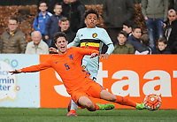 20170314 - UDEN , NETHERLANDS : Dutch Kik Pierie (R) and Belgian Logan Ndenbe (R) pictured during the UEFA Under 17 Elite round game between The Netherlands U17 and Belgium U17, on the first matchday in group 5 of the Uefa Under 17 elite round in The Netherlands , tuesday 14 th March 2017 . PHOTO SPORTPIX.BE | DIRK VUYLSTEKE