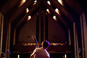 Sondre Lerche prepares for his set at Central Presbytarian Church during the 2011 SXSW Music Festival in Austin, Texas.