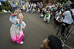 Kim Myosu, a Korean-Japanese dancer, performs during a ceremony in Nagasaki, Japan, on August 9, 2015, commemorating the 70th anniversary of the killing of Korean forced laborers when the United States dropped an atomic bomb on the city. The Koreans had been brought to Japan to work as slaves during the war. The church in Japan has played a key role in addressing Japan's complicity in violence and murder during the war years. The ceremony included the participation of a delegation of pilgrims from the World Council of Churches who each came to Japan to see for themselves the results of the bombings 70 years ago, to listen to survivors and local church leaders, and to recommit themselves to new forms of advocacy for a world free of nuclear weapons.